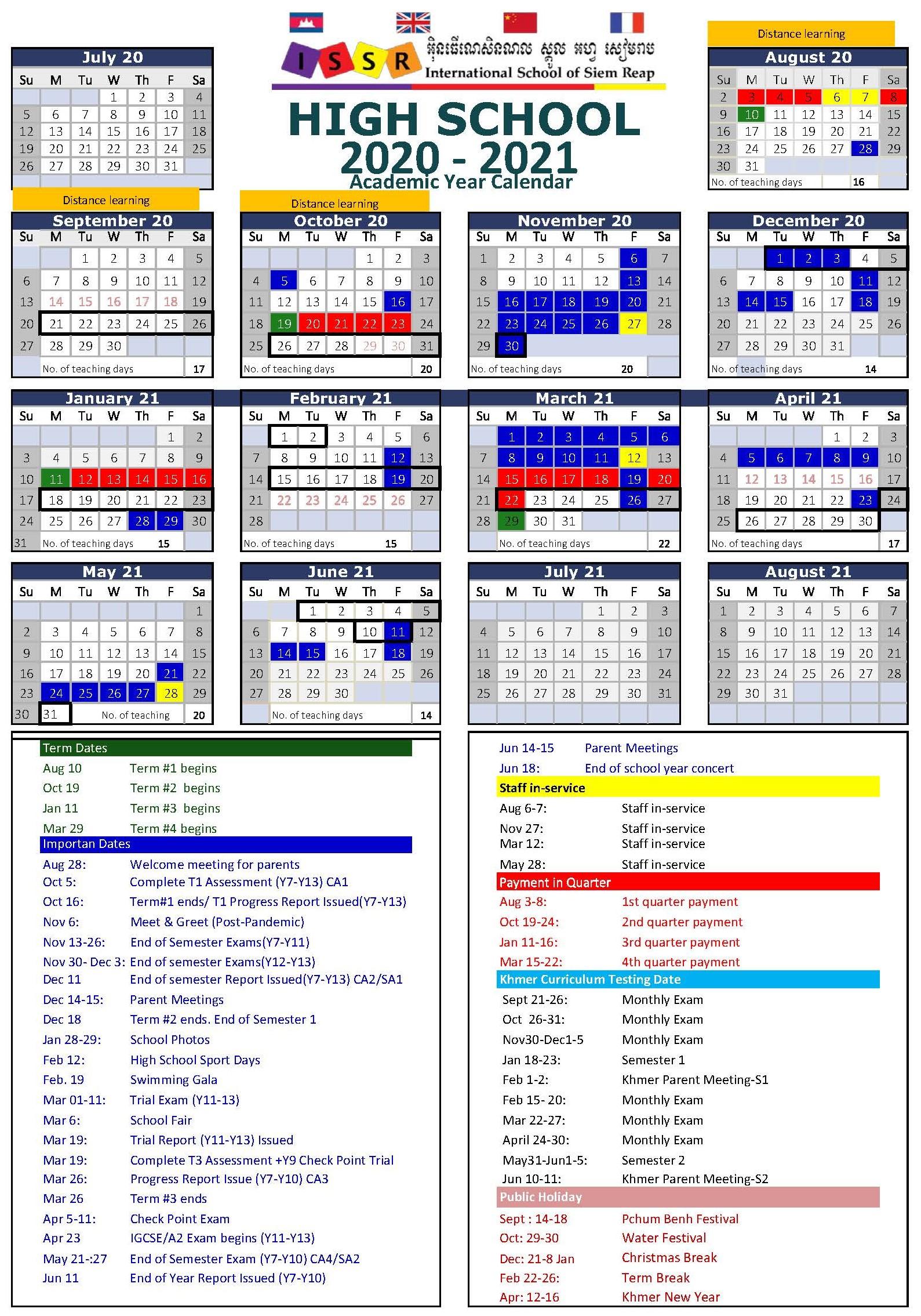 High School Calendar 2020-2021